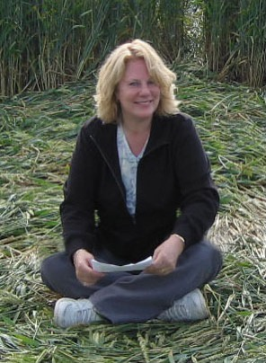 Vicki in a Wiltshire crop circle